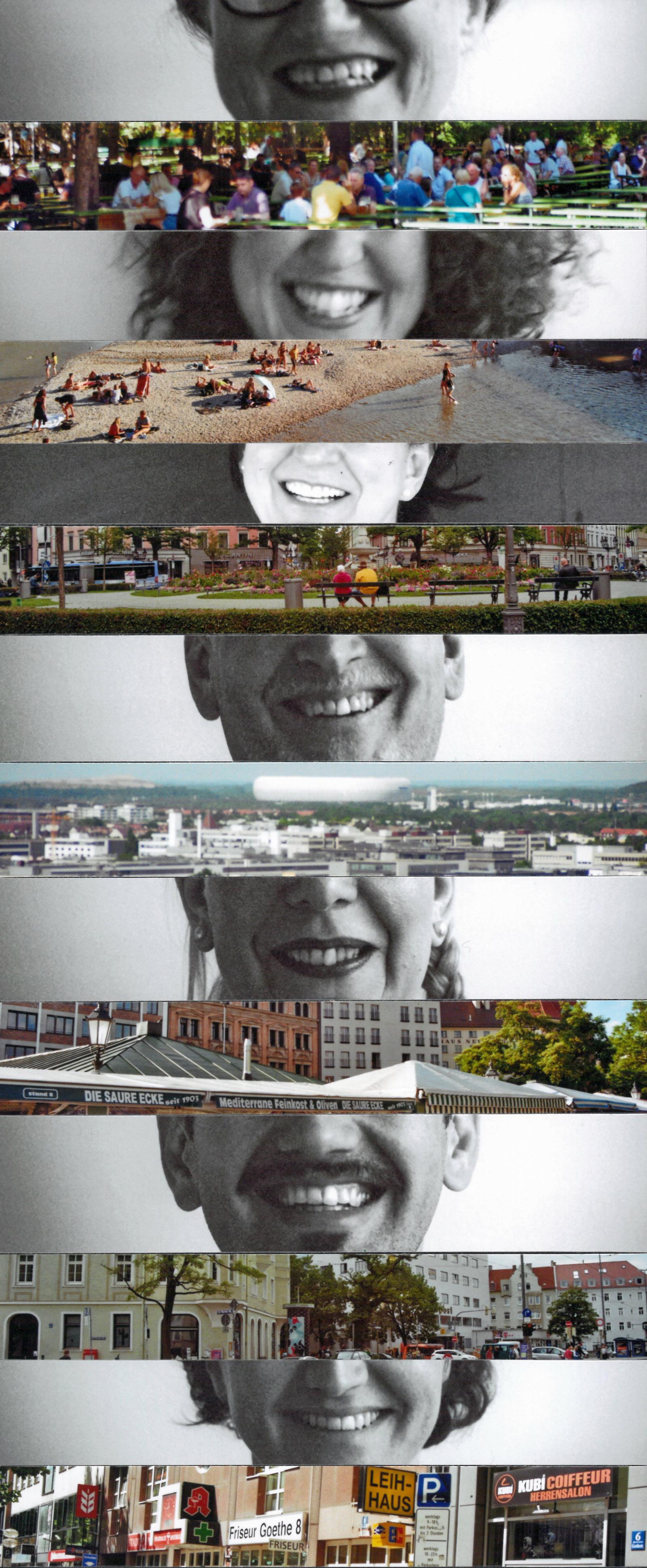 Collage Team verschiedene Münder und Lieblingsorte